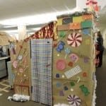 Amy Ryan's gift-wrapped cubicle door, complete with bell and candy cane handle.