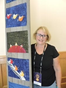 Cindy Sommerfeld with part of her ArtPrize entry.
