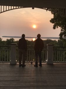 Two Janus Project participants enjoy a sunset.