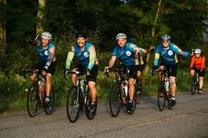 Bike riders in the Wish a Mile